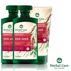 波蘭Herbal Care 人蔘固髮強健洗護髮3入組(人蔘洗髮x2+人蔘護髮x1)