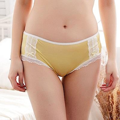 內褲 粉嫩浪漫蕾絲100%蠶絲內褲 (黃) Chlansilk 闕蘭絹
