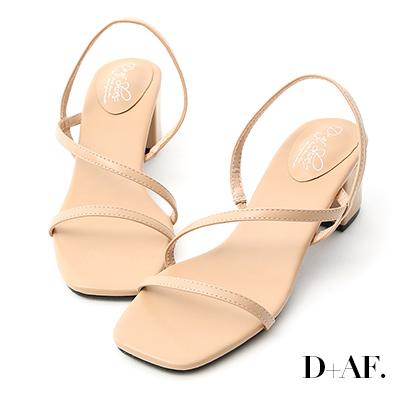 D+AF 完美心機.一字斜帶方頭中跟涼鞋*杏
