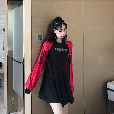 DABI 韓系時尚拼接字母休閒長袖洋裝
