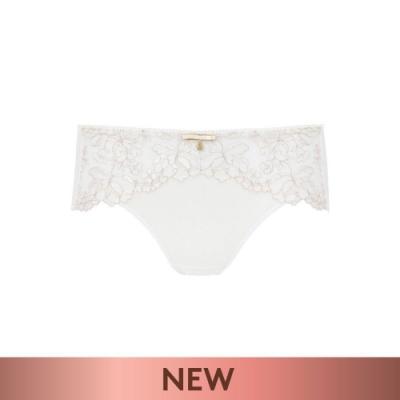 黛安芬-Premium浮雕玫瑰系列透明網布無痕中腰平口內褲 M-EL 絲光白