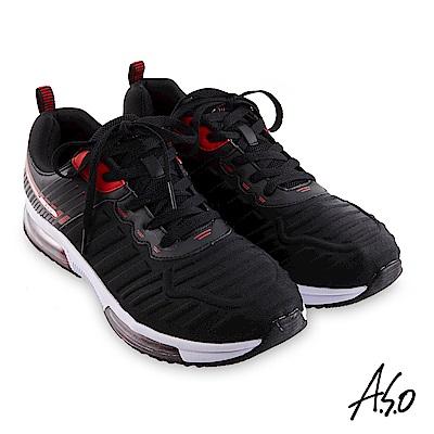 A.S.O 戶外健走 活力雙核心立體壓紋綁帶休閒鞋-黑