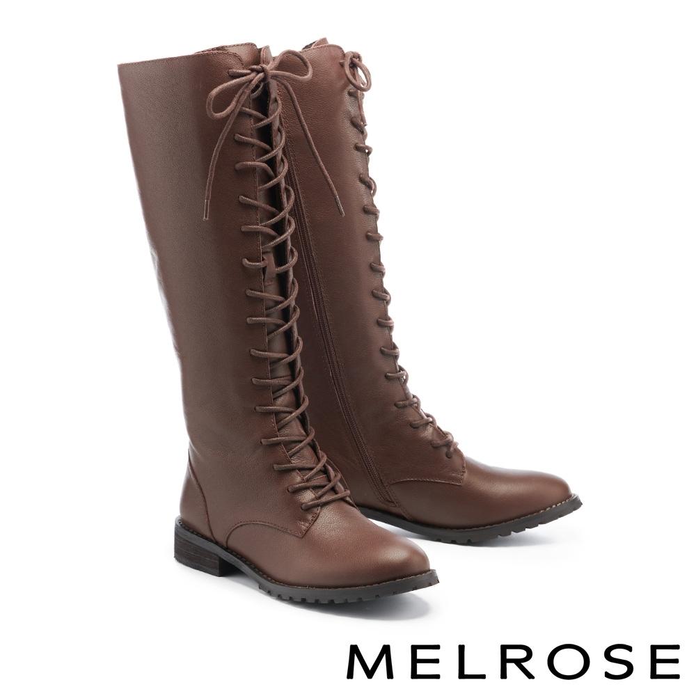 長靴 MELROSE 質感時髦牛皮純色綁帶造型低跟長靴-咖