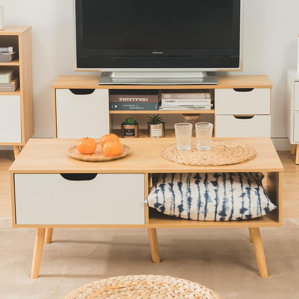 樂嫚妮 單抽屜和室茶几邊矮桌-楓木色-寬102cm