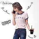 Victoria LOGO繡字基本短袖T-女-粉