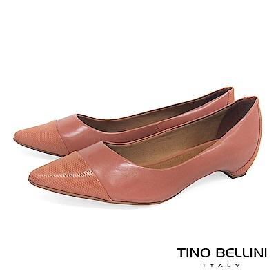 Tino Bellini 巴西進口知性品味舒足低跟鞋 _ 粉