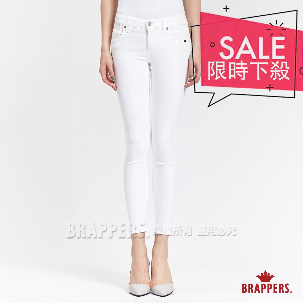BRAPPERS 女款 LC-Cargo系列-女用中低腰彈性九分褲-白