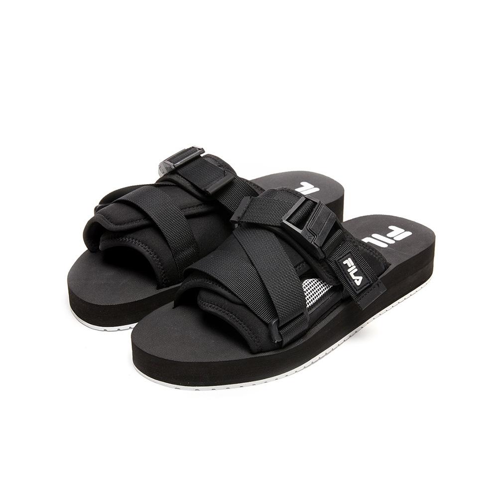 FILA SOL-SLIDE V2 寬版織帶拖鞋-黑 1-S638V-013