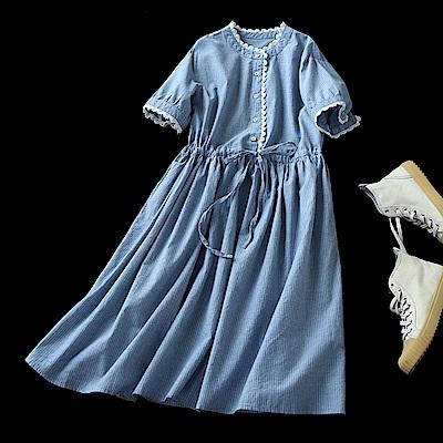 甜美蕾絲花瓣條紋純棉中袖洋裝-設計所在