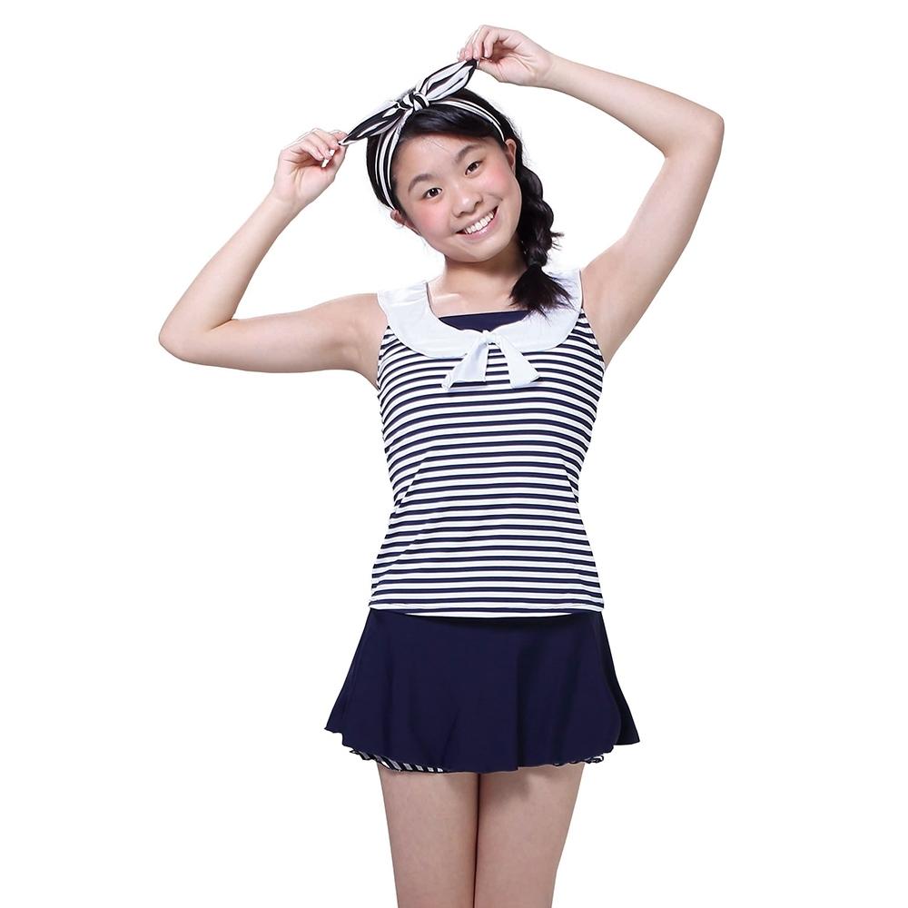 [奧可那泳裝]水手條紋少女兩件式泳裝