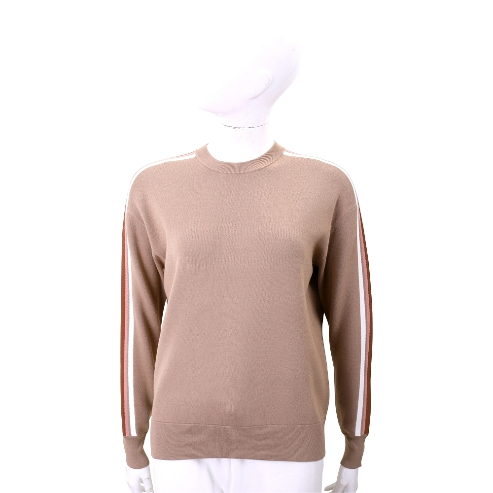 Max Mara-WEEKEND 手袖撞色線條圓領奶茶色針織衫