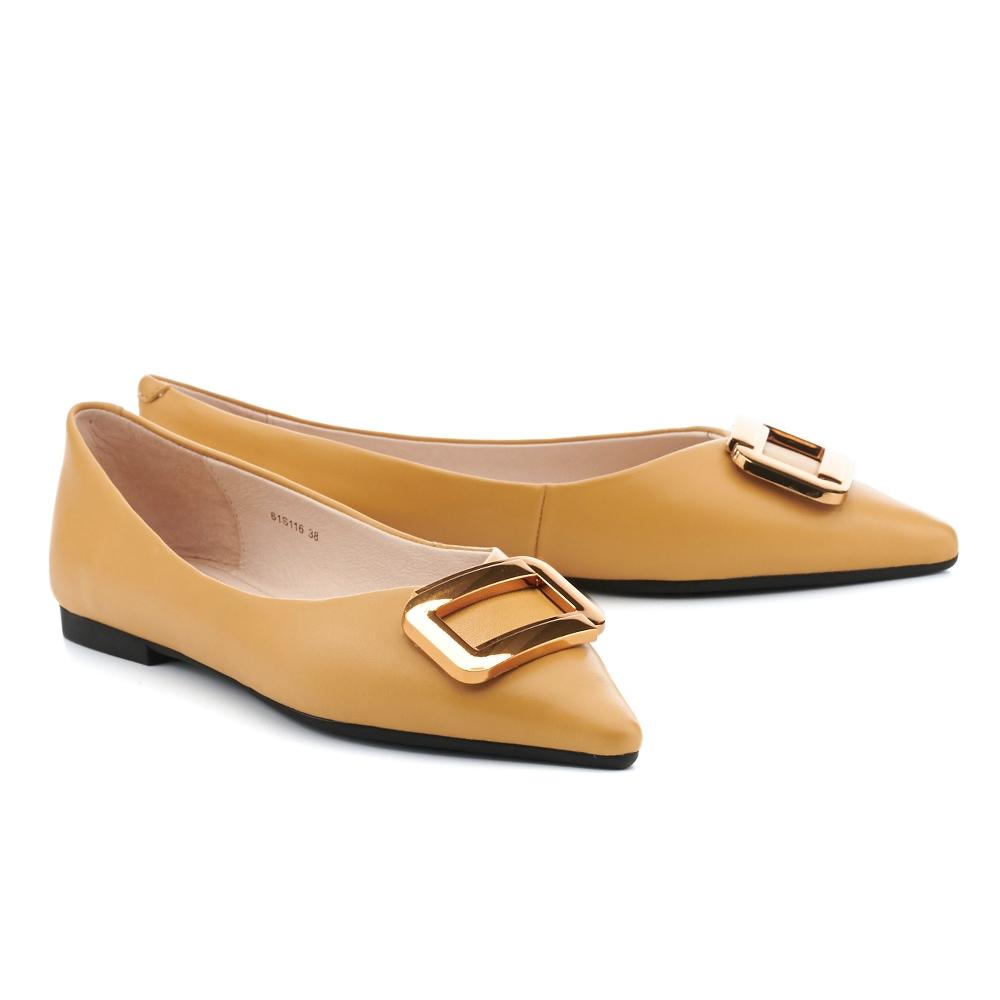 平底鞋 HELENE SPARK 都會金屬大方釦全真皮尖頭平底鞋-黃