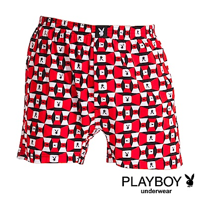 PLAYBOY MIT製印花精梳棉四角褲 大尺碼-單件-方塊兔系列