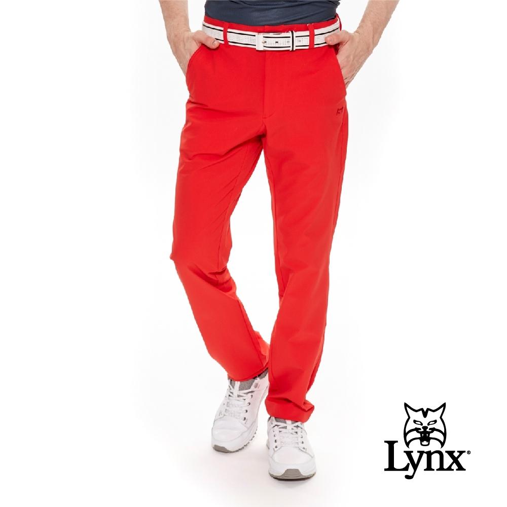 【Lynx Golf】男款瑞士3XDRY吸濕速乾防潑水小山貓平口休閒長褲-紅色