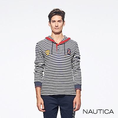 Nautica修身連帽針織衫-條紋
