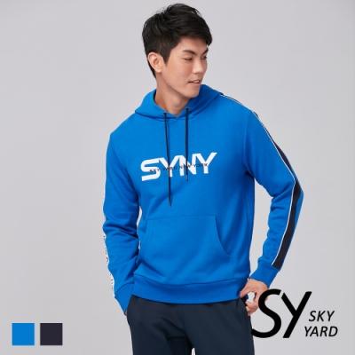 【SKY YARD 天空花園】字母滾邊SYNY繡花連帽T恤-藍色