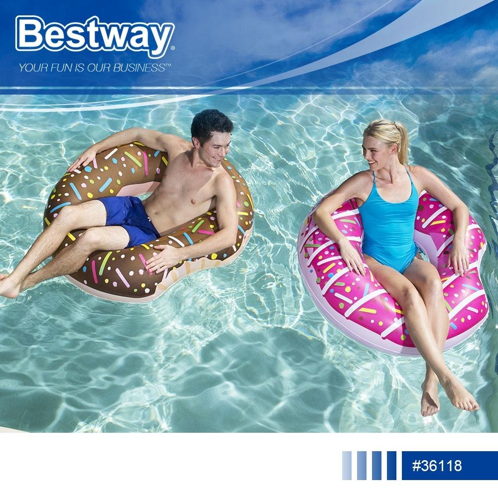 Bestway 36118造型甜甜圈充氣游泳座圈附修補片.夏日海邊泳池戲水造型泳圈