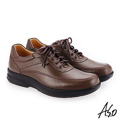 A.S.O 厚切超動力 綁帶奈米氣墊休閒皮鞋深卡其