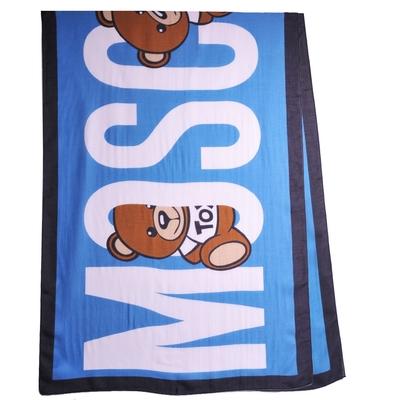 MOSCHINO 義大利製大品牌TOY小熊LOGO莫代爾披肩/圍巾(土耳其藍系)