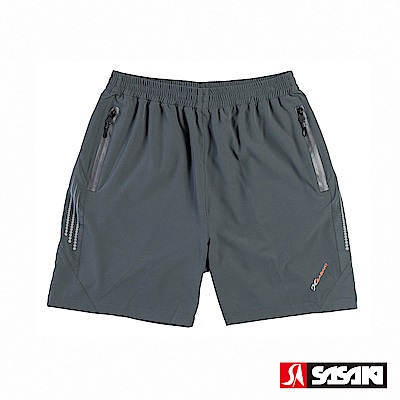 SASAKI 抗紫外線功能四面彈力網球短褲-男-深灰/艷桔