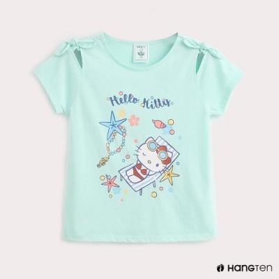 Hang Ten-童裝-Sanrio-Hello Kitty肩膀簍空印花T恤-綠