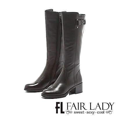 Fair Lady 騎士風範簡約扣環纖腿長靴 黑
