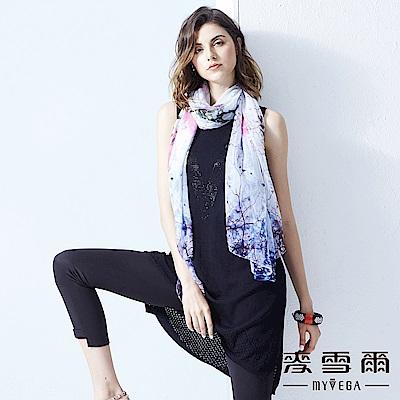 【麥雪爾】V字黑鑽薄針織背心洋裝-黑