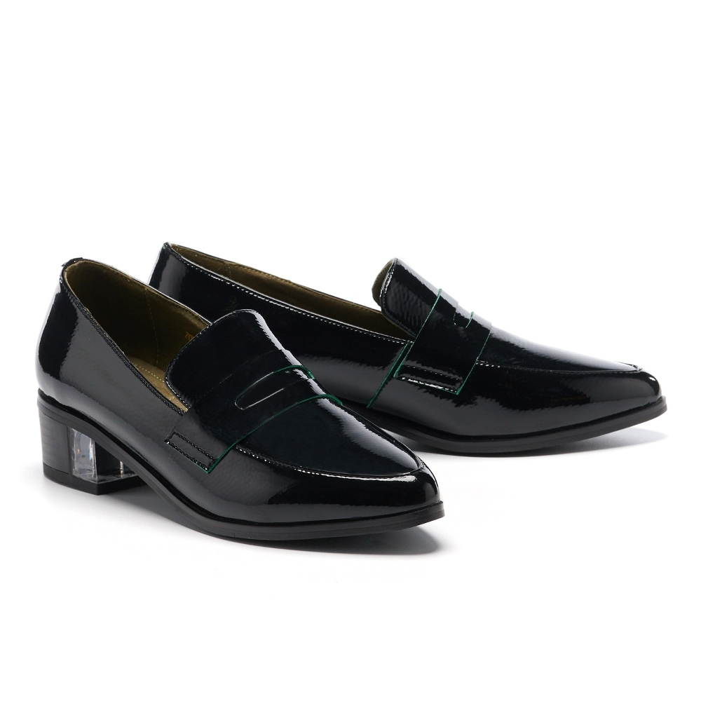 高跟鞋 MODA Luxury 簡約時髦小紳士尖頭樂福高跟鞋-黑