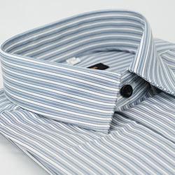 金‧安德森 灰底白條紋吸排窄版長袖襯衫