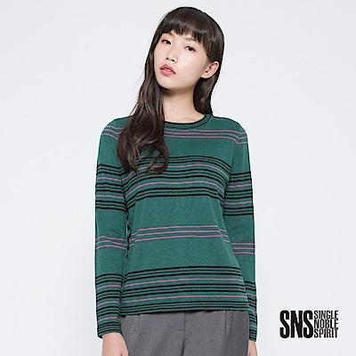 SNS 平行維度羊毛混紡條紋針織衫(2色)