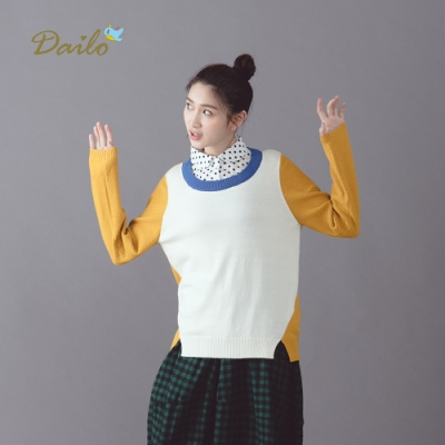 新降【Dailo】學院風拚色-針織衫(三色)