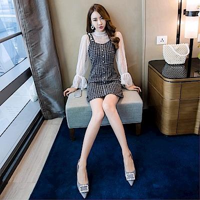 DABI 韓系時尚背心裙連身裙套裝長袖裙裝