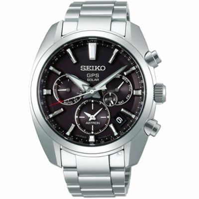 SEIKO精工ASTRON 5X53雙時區太陽能手錶(SSH021J1)-灰黑