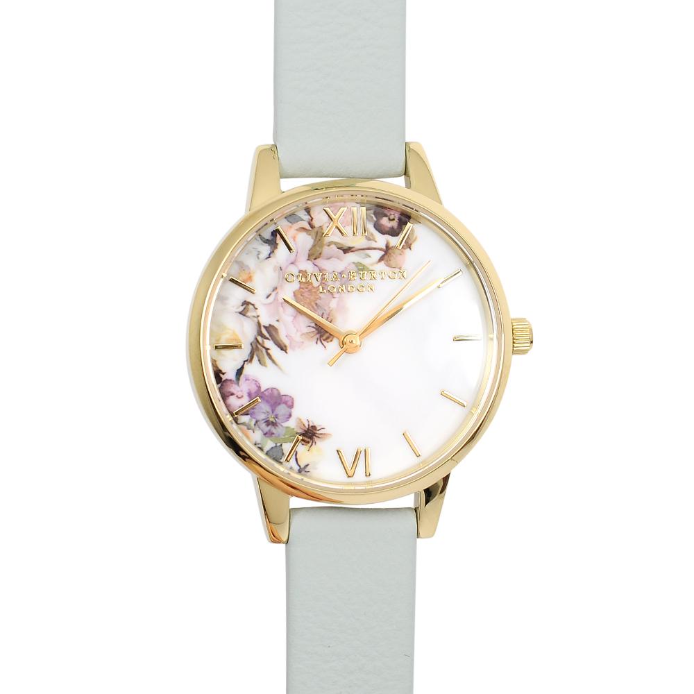 Olivia Burton 英倫復古手錶 魔法花園 粉綠色真皮錶帶金框30mm