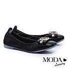 低跟鞋 MODA Luxury 優雅字母飾釦全真皮方頭低跟鞋-黑