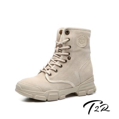 T2R-正韓空運-真皮女款真皮高筒短靴-隱形增高鞋-增高7公分-卡其