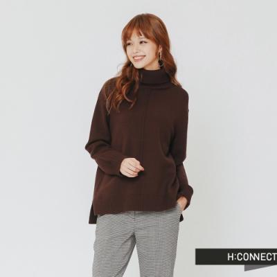 H:CONNECT 韓國品牌 女裝 - 純色質感高領針織上衣-棕(快)