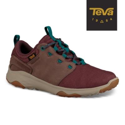【TEVA】原廠貨 女 Arrowood Venture WP 低筒防水牛皮機能休閒鞋/登山鞋(酒紅-TV1103269VDWN)