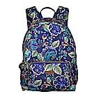 旅行收納後背包-法國玫瑰復刻印花-紺青藍 LiliO