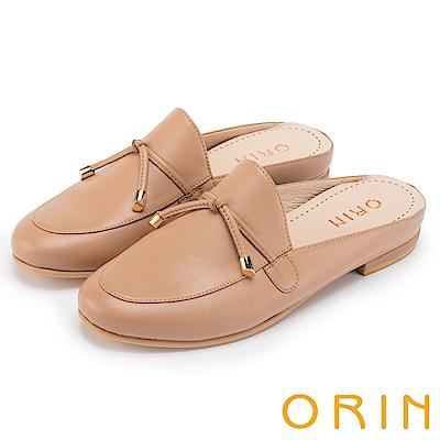 ORIN 復古潮流 細帶綁結真皮平底穆勒鞋-棕色
