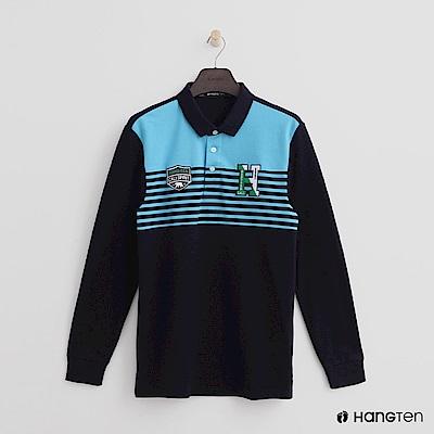 Hang Ten - 男裝 - 拼布標語拼接POLO衫 - 藍