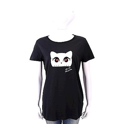 Karl Lagerfeld CHOUPETTE LOVE 心鑽貓眼黑色純棉T恤