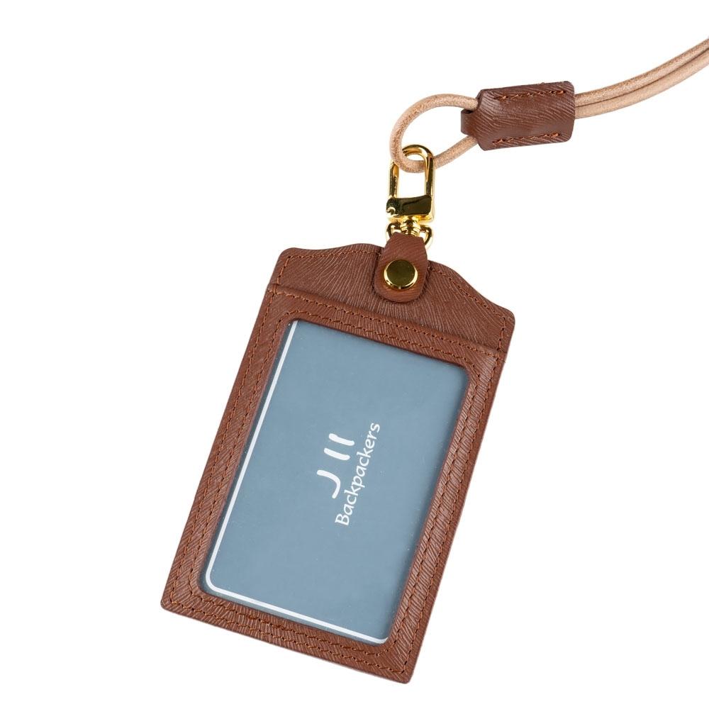 J II 馬鬚紋直式牛皮證件卡套-咖啡色-2201-2