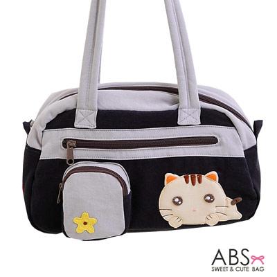 ABS貝斯貓 趴趴貓 拼布肩背包 手提包(典雅黑)88-109