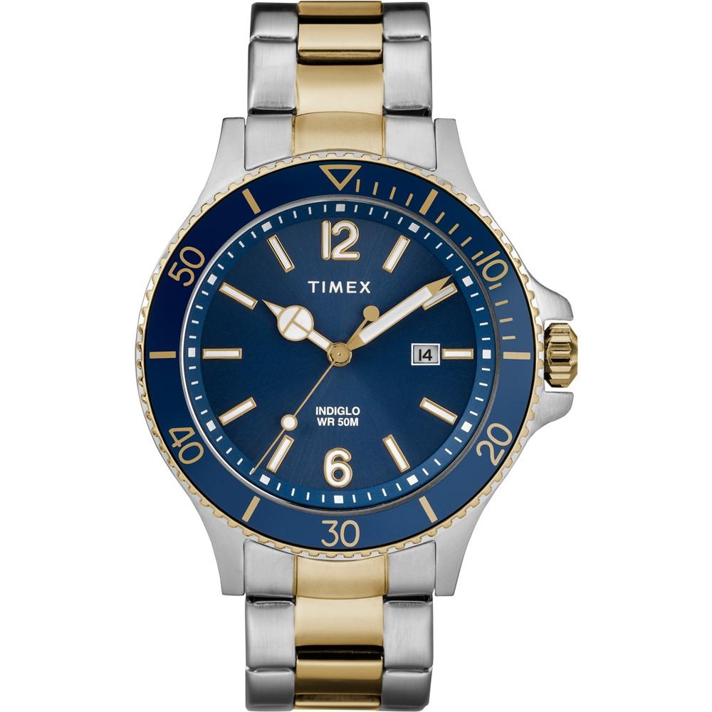 TIMEX 天美時 風格系列 經典紳士手錶-藍x金銀-42mm