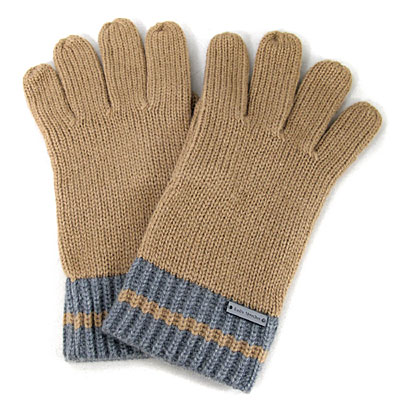 MICHAEL KORS 金屬飾牌雙色針織條紋毛線手套(駝灰條紋-男女皆宜)