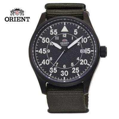 ORIENT 東方錶 WATER RESISTANT 100m系列 飛行機械錶 尼龍帶款 黑色 RA-AC0H02N - 42.4mm