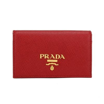 PRADA SAFFIANO Metal 浮雕金屬LOGO全皮革名片夾(紅色)