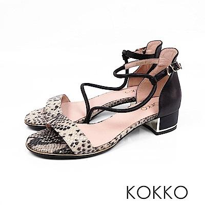 KOKKO - 東大門一字細帶真皮粗跟涼鞋 - 蛇紋黑