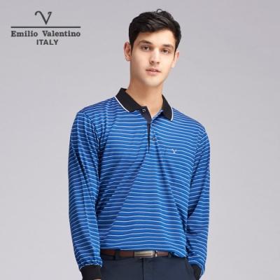 Emilio Valentino范倫鐵諾義式風尚雅致橫紋POLO衫_寶藍(21-9V2863)